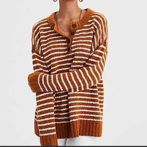 American Eagle Striped Henley Sweater Sz L